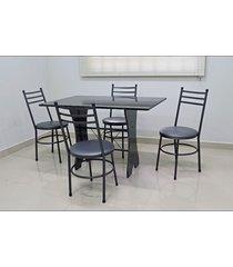 conjunto cozinha verona 1,20 com granito c/4 cadeiras vitória açomix