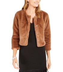 adrianna papell faux-fur bolero jacket