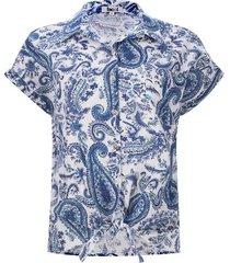 camisa con nudo lagrimas color azul, talla 10
