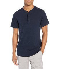 men's rag & bone slim fit henley t-shirt, size large - blue