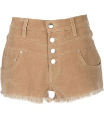 amiri high-waisted corduroy shorts - brown