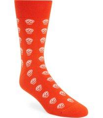 alexander mcqueen skull short socks, size medium in orange/ivory at nordstrom