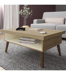 mesa de centro lucca com nicho carvalho/off white - artely