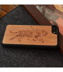 lion carved personal natural wood phone case for iphone7/7plus/6/6s/6plus/6sp