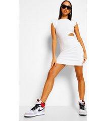 bandage rib shoulder pad cut out mini dress, white