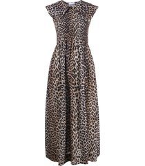 ganni leopard-print peter pan collar dress - brown