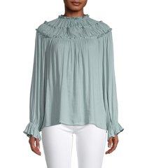 cistar new york women's elva tiered ruffle shoulder top - blue - size s