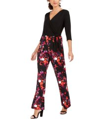 ny collection petite printed surplice jumpsuit