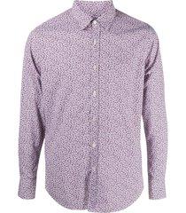 canali micro cherry print shirt - purple