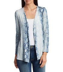 soft touch python print open cardigan