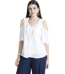 blusa sin hombros y collar blanco lorenzo di pontti