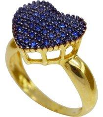 anel coração cravejado cristais safira zircônias banhado a ouro 18k