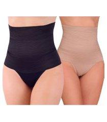 kit 5 calcinhas cinta modeladora vip lingerie zero barriga cintura alta preto e chocolate