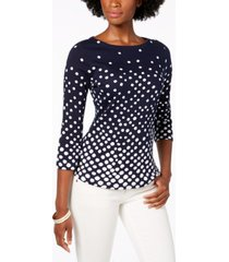 charter club petite pima cotton button-shoulder print top, created for macy's