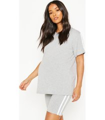 maternity cycling short & t-shirt lounge set, light grey