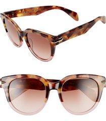 women's rag & bone 54mm cat eye sunglasses - brown havana/ pink