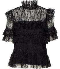 rachel blouse blouses short-sleeved zwart by malina