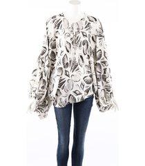 alexander mcqueen seashell print white silk balloon sleeve blouse white/multicolor sz: s