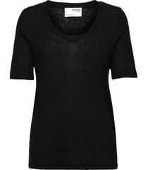 slflinen ss u-neck tee t-shirts & tops short-sleeved svart selected femme