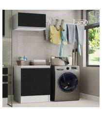 kit área de serviço madesa topazio 60 cm com armário e balcão - branco/preto branco/preto