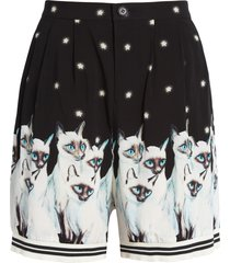women's undercover pleated cat print shorts, size 2 - black