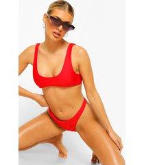 essentials kort bikini top met wijde ronde hals, rood