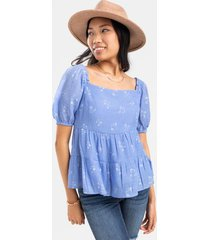 charlee tiered babydoll blouse - light blue