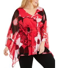 alfani plus size floral-print poncho top, created for macy's