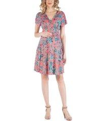 24seven comfort apparel cap sleeve empire waist paisley print maternity dress