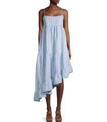 frame women's gemma striped asymmetrical dress - blue - size l