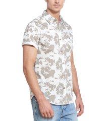 weatherproof vintage men's abstract splatter print slub twill short sleeve shirt