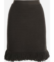 bottega veneta crochet-effect knit skirt with pompon work