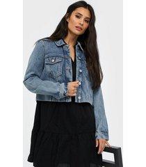 vero moda vmmikky ls cropped denim jacket vi3 jeansjackor