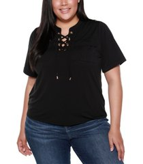 belldini black label plus size lace up top with pockets