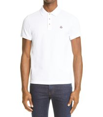 men's moncler logo patch jersey short sleeve polo shirt, size small - white