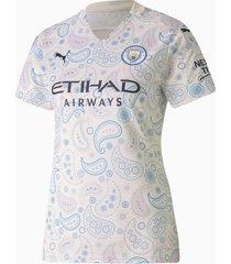 man city third replica shirt voor dames, blauw/wit, maat l | puma