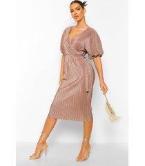 plisse buckle wrap midi dress, mocha