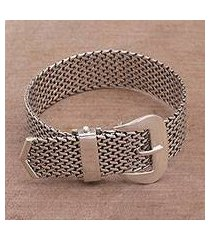sterling silver wristband bracelet, 'belt of tenganan' (indonesia)