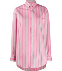 balenciaga vertical-stripe oversized shirt - pink