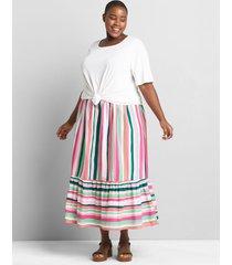 lane bryant women's striped wide-ruffle maxi skirt 14/16 spring stripes