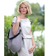 szara torba z eko zamszu z grafitowymi rączkami