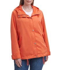 plus size women's levi's hooded peached water resistant rain jacket, size 3x - red