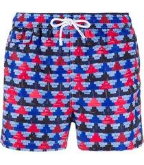 kiton short de natação com estampa geométrica - azul
