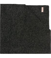 twin-set ribbed knit long scarf - black