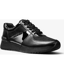 mk sneaker allie in pelle e mesh con glitter - nero (nero) - michael kors