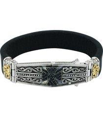 konstantino maltese cross leather bracelet, size medium in silver at nordstrom