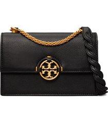 tory burch miller mini leather crossbody bag - black