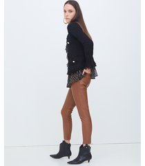 motivi pantaloni skinny in similpelle donna marrone