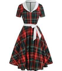 vintage shawl collar plaid pin up dress