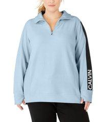 calvin klein performance plus size logo-sleeve zip-neck top